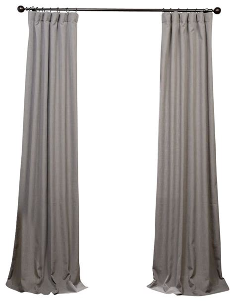 pewter grey heavy faux linen curtain single panel