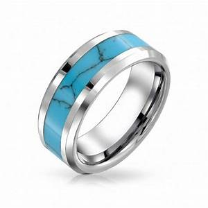 Blue turquoise rings for women tungsten rings for men for Mens turquoise wedding rings