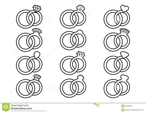 Wedding Rings Outline Icons Stock Vector