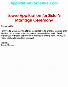 Leave Application For Sister's Marriage
