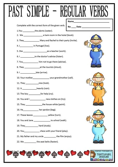 simple regular verbs  tense worksheet regular