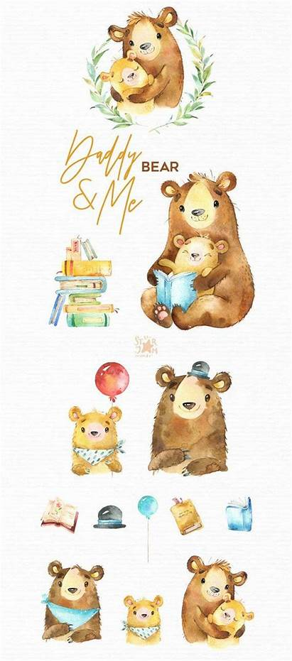 Watercolor Clipart Daddy Animals Father Bear Hugs