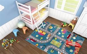 tapis pour enfant motif play moderne route bleu vert gris With grand tapis enfant