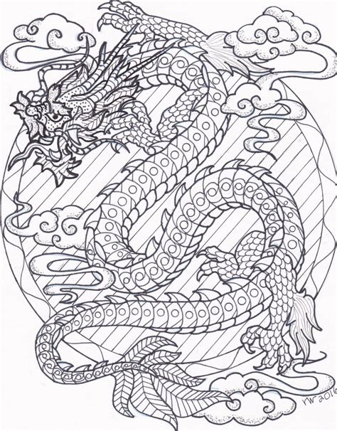 Chinese Dragon Zentangle Coloring Page Digital Download