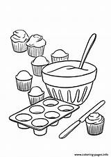 Coloring Pages Cupcake Sweets Baking Cupcakes Printable Sheets Cake Making Bread Sheet Sweet Colors Inside Forkids sketch template