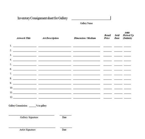 consignment agreement form templates excel template