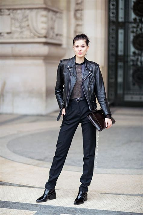 Women Black Leather Jacket Charcoal Crew Neck Shirt