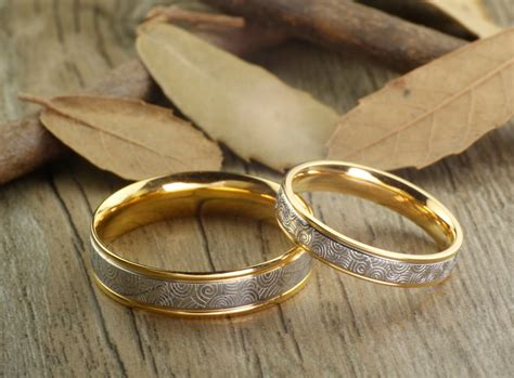 handmade gold wedding bands couple rings titanium anniversary rings rings