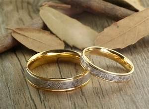 Handmade Gold Wedding Bands Couple Rings Set Titanium