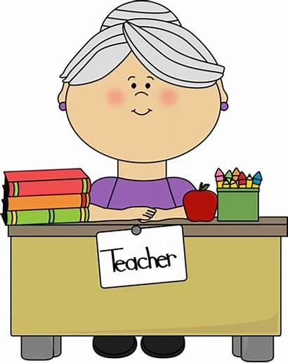 Teacher Hair Desk Clipart Clip Gray Sitting