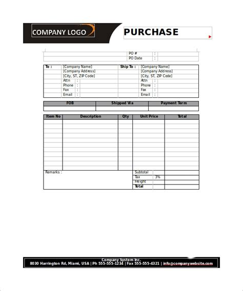 order form templates   word excel