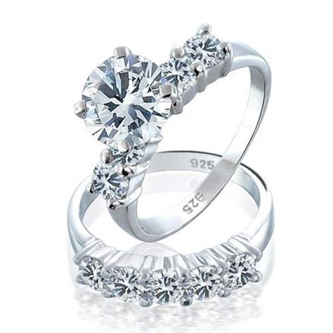 925 sterling silver cz engagement wedding ring