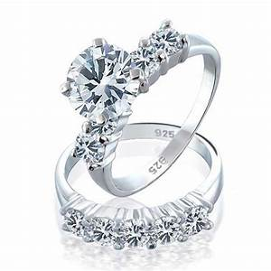 925 sterling silver round cz engagement wedding ring set for Wedding band under engagement ring
