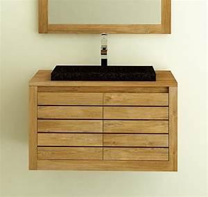 meuble de salle de bain a suspendre en teck molene 55 cm With petit meuble salle de bain teck