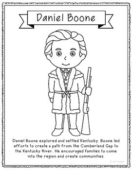 Daniel Boone Coloring Page Craft or Poster with Mini