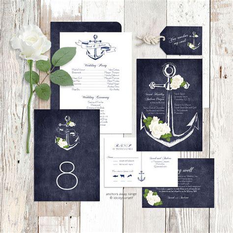 wedding invitation suite printable nautical floral