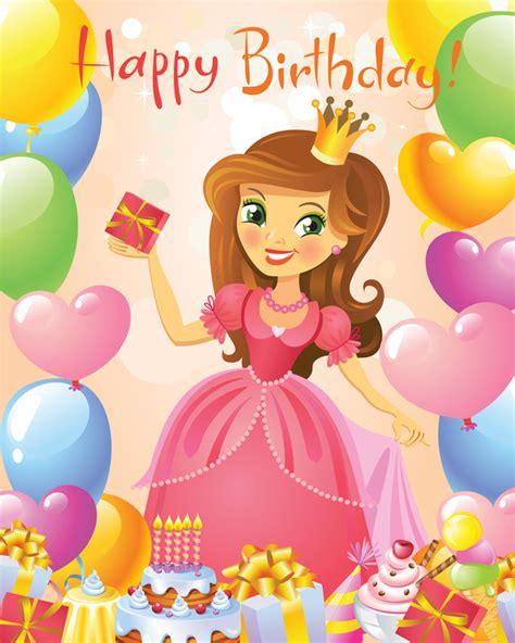cute princess  happy birthday backgroud vector