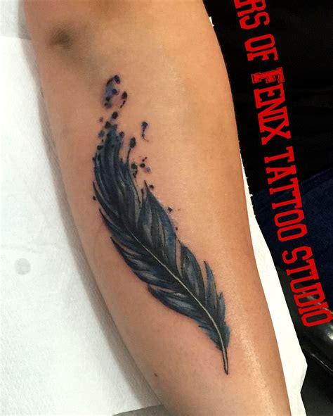 acuarela feather  girls female forearm tattoo odd