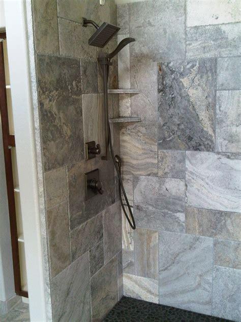 silver travertine   shower bathrooms travertine