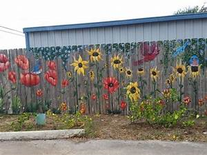 Portion, Of, Fence, Mural, With, Poppies, Sunflowers, And, Birds
