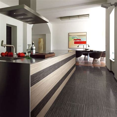 A Modern Kitchen Featuring Contrasting Rice White W1