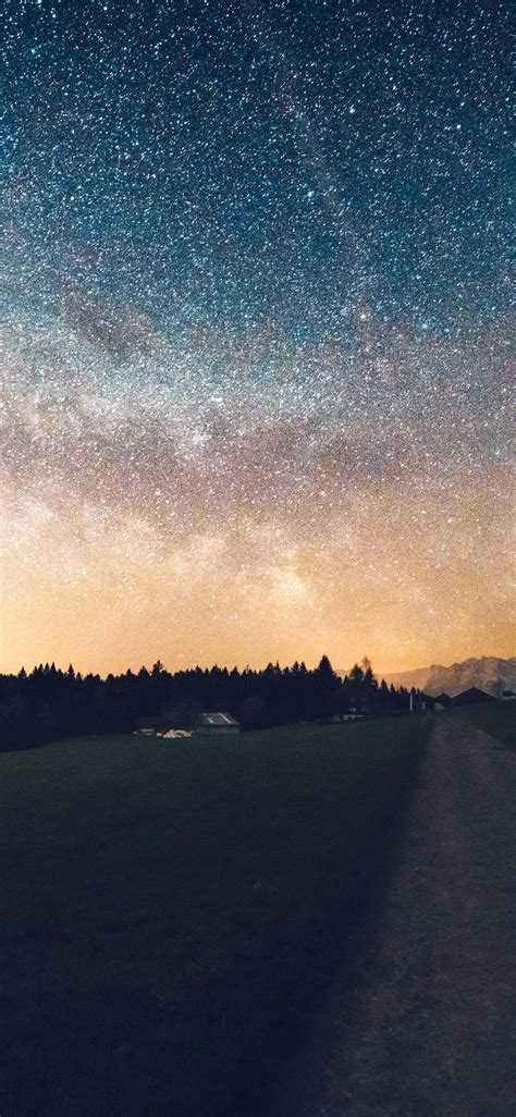 nn starry sky nature sunset mountain road wallpaper