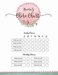 Free Weekly Chore Chart Template Free Chore Chart Template 101 Different Designs