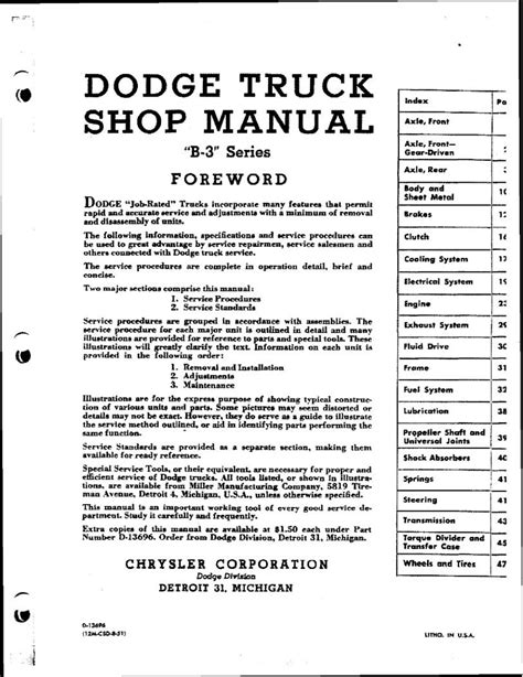 service manual old car manuals online 1992 dodge ram wagon b150 electronic valve timing 1942 dodge truck the old car manual project