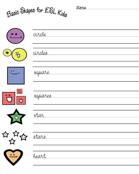 esl kids free shapes worksheets geometry shapes