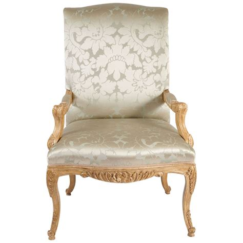 louis xiv style chair silk damask upholstery at 1stdibs