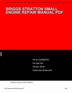 Briggs Stratton Small Engine Repair Manual Pdf By