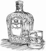Crown Royal Illustration Bottle Drawing Glass Sketch Drawings Illustrations Ice Advertising Takes Sprouls Wineries Tattoo Variations Ink Wines Potent Potable sketch template