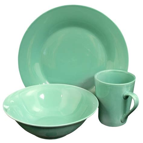 GIBSON HOME Carlton 12 Piece Teal Dinnerware Set