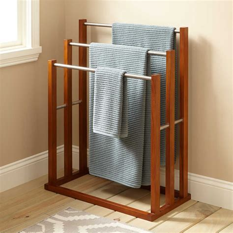 bathroom towel design ideas teak towel hanger with 3 tiers bathroom