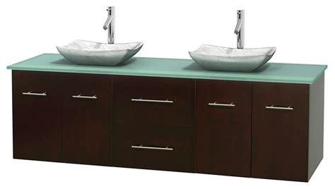 Modern Bathroom Glass Vanities by 72 In Bathroom Vanity In Espresso Green Glass