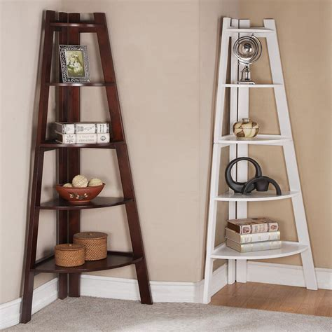 walnut white  tier corner shelf bookcase bookshelf