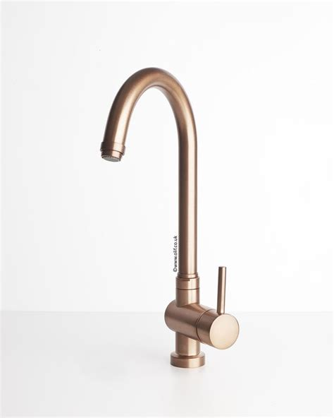 brushed copper kitchen mixer tap idrotech copper olif