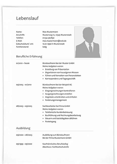 Lebenslauf Vorlage Einfach by Lebenslauf Muster 7 Klassische Bewerbungsvorlage