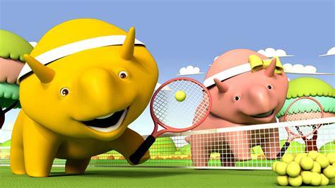 nauka kolor 211 w gra w tenisa ucz się z dino dinozaurem bajki edukacyjne dla dzieci