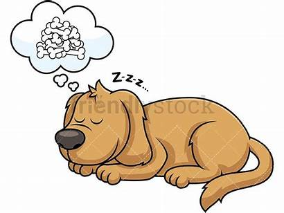 Sleeping Dog Cartoon Clipart Dreaming Bones Vector