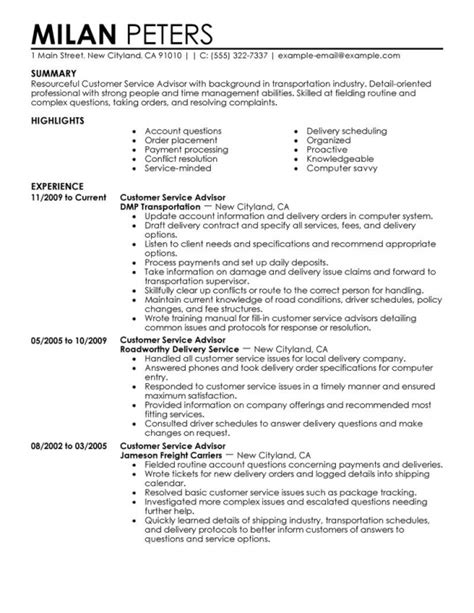 Best Buy Customer Service Resume by Customer Advisor Resume Exle