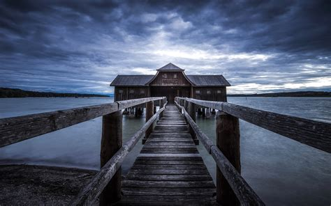 fonds decran pier pont maison en bois lac  hd