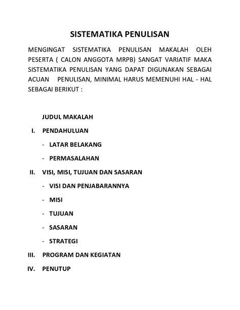 Ini Jadwal Seleksi Calang MRPB, Pedoman Pemaparan Makalah ...
