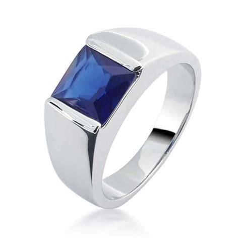 Patriotic Blue Sapphire Color CZ Engagement Ring for Men