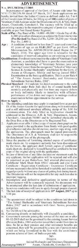 animal husbandry veterinary dept assam recruitment