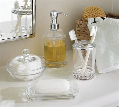 Pottery Barn Sea Glass Bathroom Accessories by Pb Classic Glass Bath Accessories Traditional Bathroom