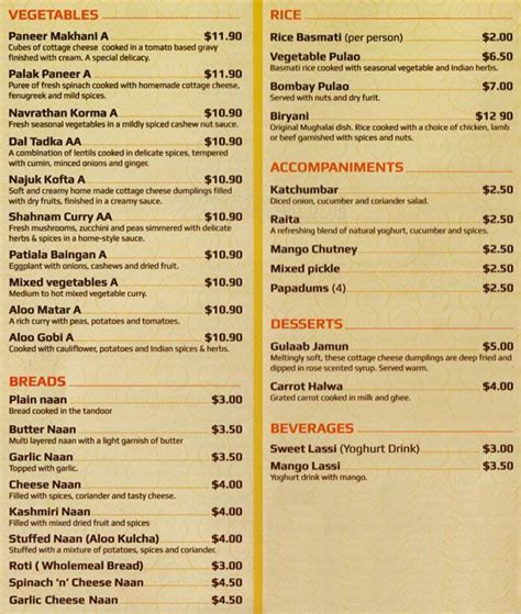 indian cuisine menu kalavara indian restaurant menu urbanspoon zomato