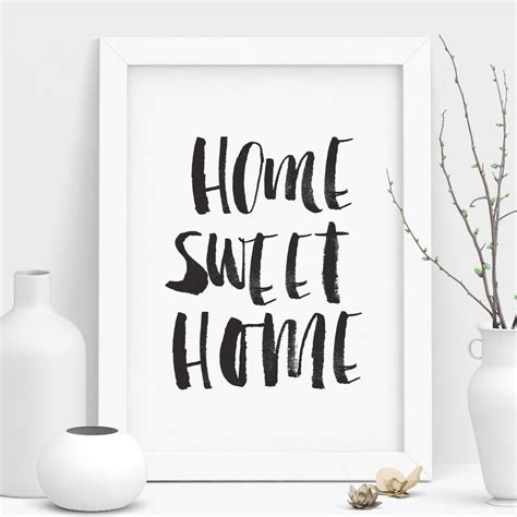 'home Sweet Home' Black And White Watercolour Print By The