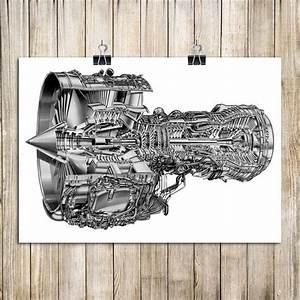 Engine Structure Diagram Vintage Kraft Paper Poster House