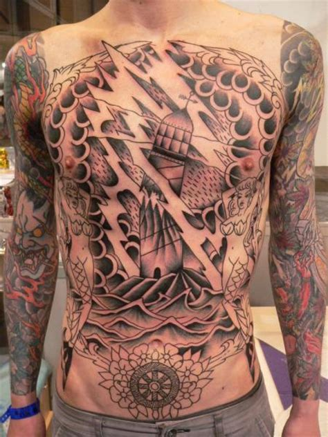 lighthouse chest tattoo   port